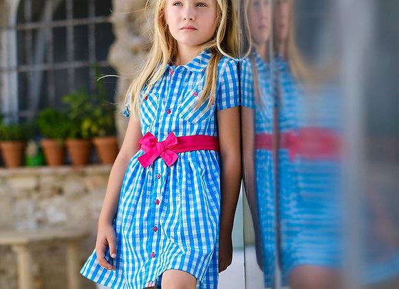 Tutto Piccolo Turquoise Check Shirt Dress