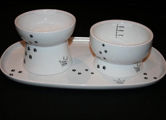 Water and Food Dish + Tray Set