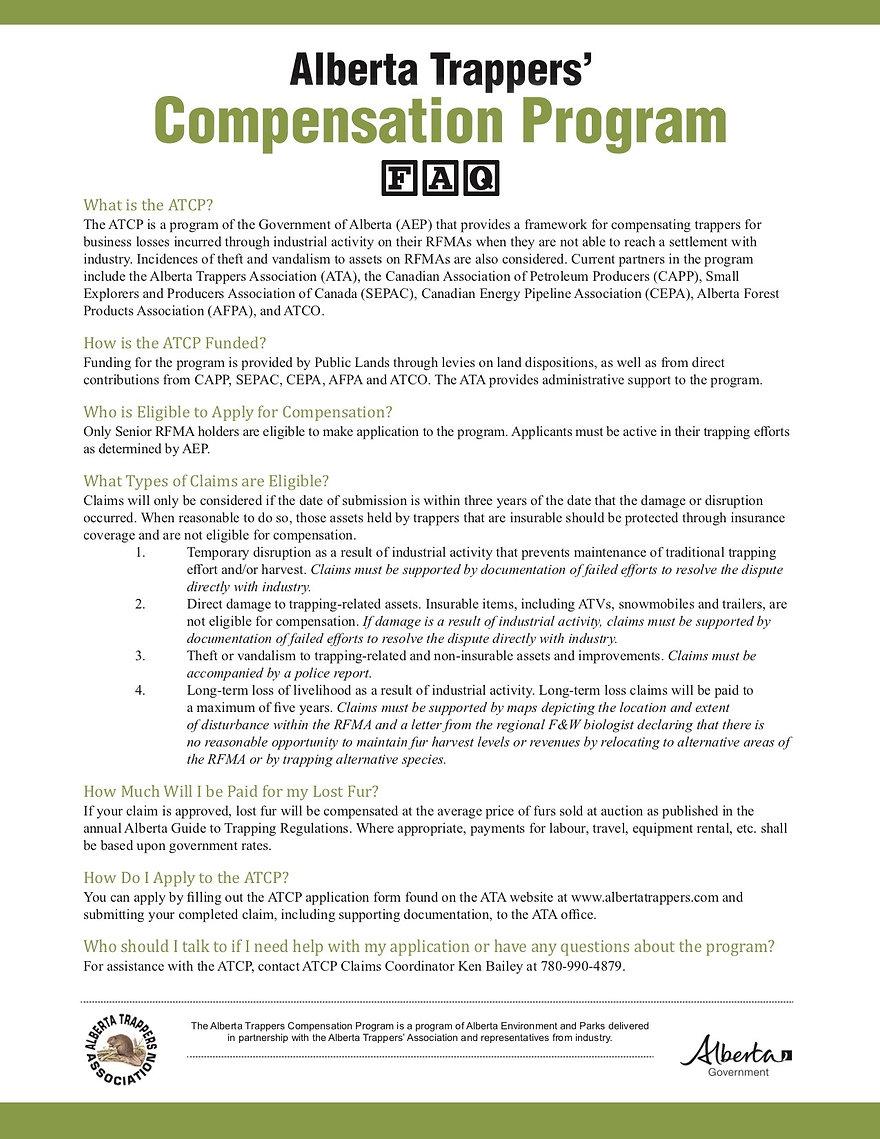 Alberta Trappers Compensatin FAQ
