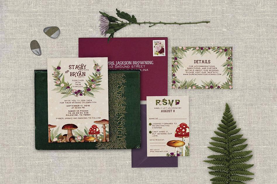 Wedding invitations, enchanted forest, toadstool, mushrooms, ferns, moss, flowers, woods, jewel tones, burgundy, purple, boho, bohemian, whimsical, vintage, illustrated, woodland