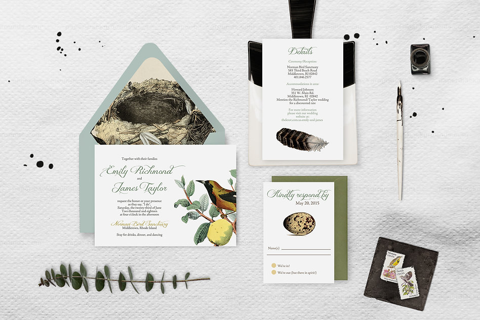 Wedding invitations, birds, featers, eggs, nests, ornithology, vintage, field guild, unique, fruit, bohemian, boho, whimsical
