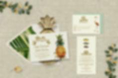 wedding invitations, tropical, paradise, detination wedding, pineapple, palm leaf, flamingo, fish, octopus, bird of paradie, map, custom map, gold foil, beach, Florida, Hawaii, Cozumel, Puerto Rico, Costa Rica, Carribean, Jamaica, Los Cabos, Riviera Maya, unique