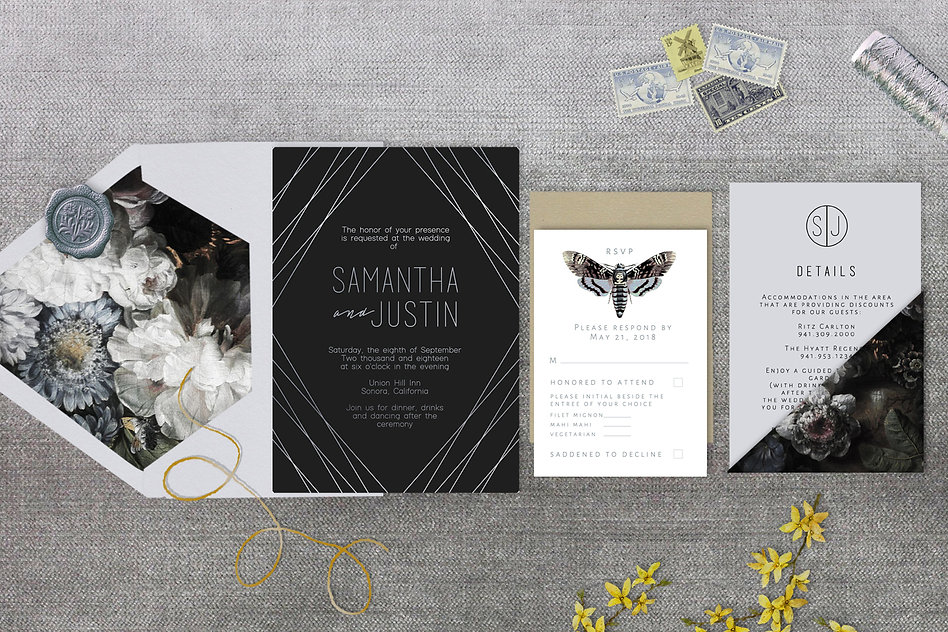 Wedding invitations, black, silver, silve foil, gray, death moth, monogram, neutrals, dak florals, flowers, minimalist, unique, winter