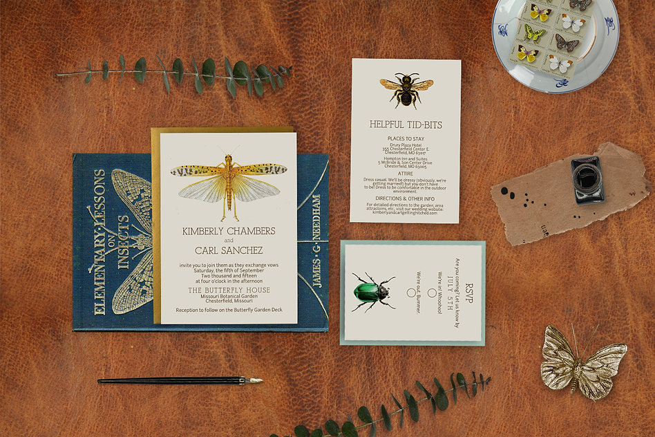 Wedding invitations, insects, bugs, entomology, butterflies, moths, beetle, lady bugs, bees, grasshoppers, vintage, field guide, cabinet of curiosities, unique