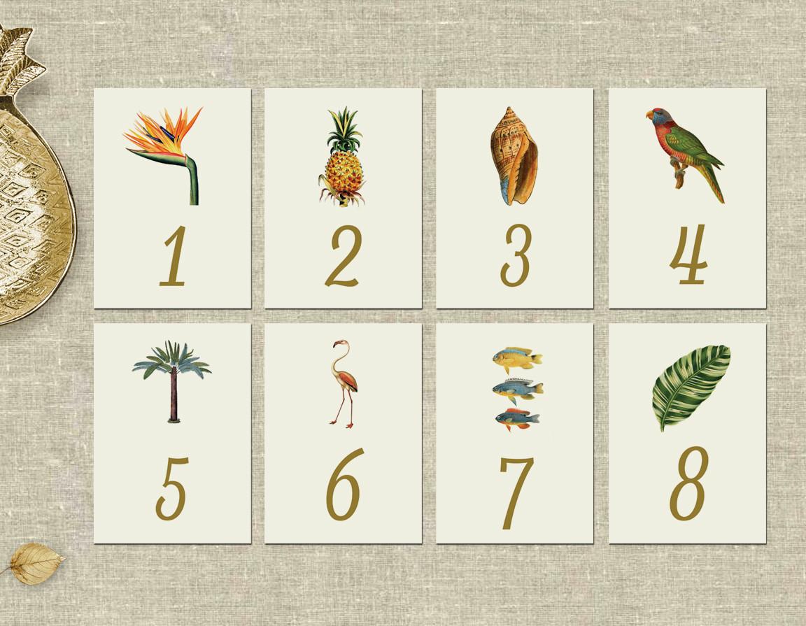 Paradise Table Numbers Custom