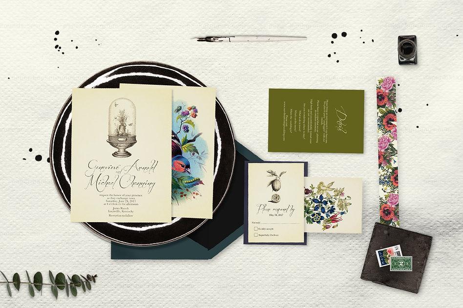 Wedding invitations, colorful, terrarium, cloche, bird, fruit, lemon, flowers, floral, olive green, sketches, vintage, dark, noire, whimsical, unique