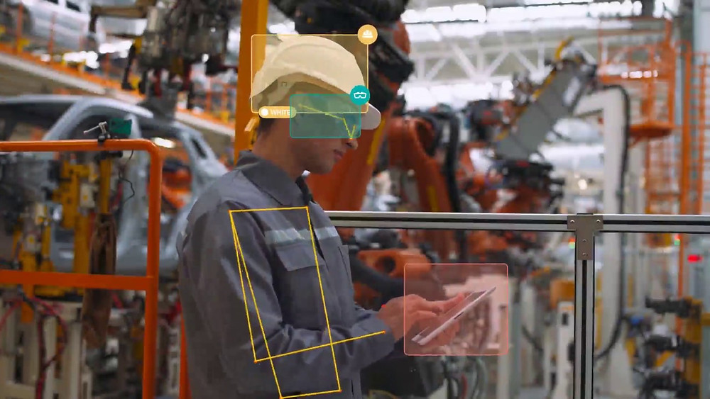 Factory worker with AI-based safety software