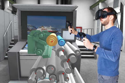 Employee taking part in AR-based training