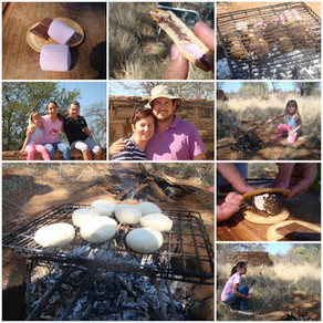 """Camping day out in the field. Making """"Rooster koek"""" and S'mores the Namibian way!"""