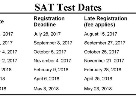 SAT Test Dates for 2017-18