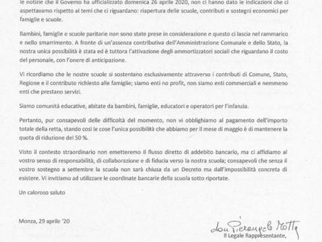 Lettera alle famiglie / 30 aprile 2020