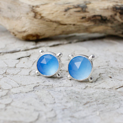 Morwen Studs With Blue Chalcedony
