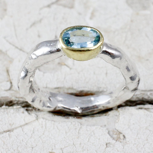 Sterling silver and gold aquamarine ring