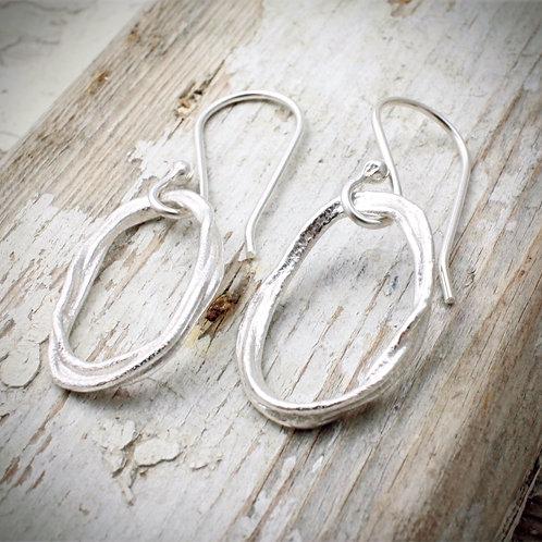Organic silver earrings