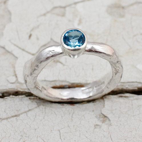 Rustic silver topaz ring