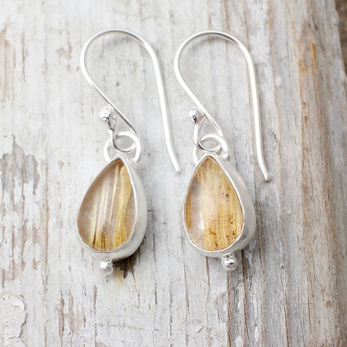 Morwen Earrings With Golden Rutilated Quartz