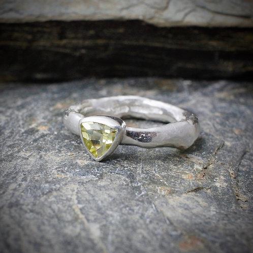 Trillion Lemon Quartz Rustic Ring