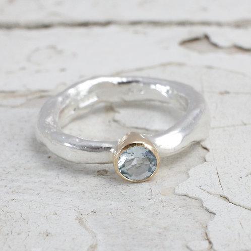 Rustic aquamarine ring
