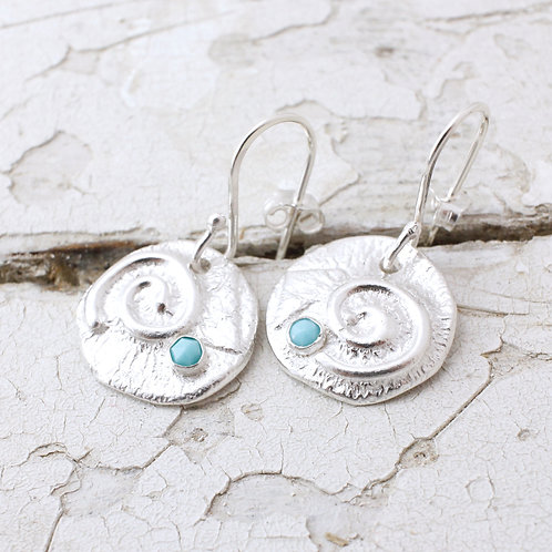 Swirly Earrings With Turquoise