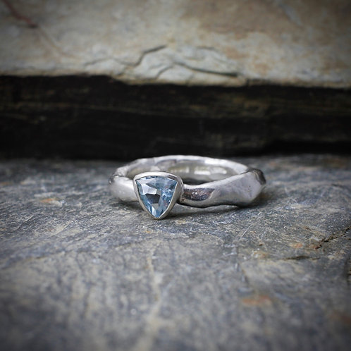 Trillion Aquamarine Rustic Ring