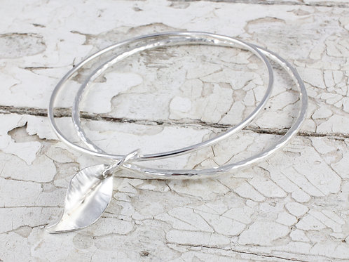 Leaf charm bangle handmade in recycled sterling silver