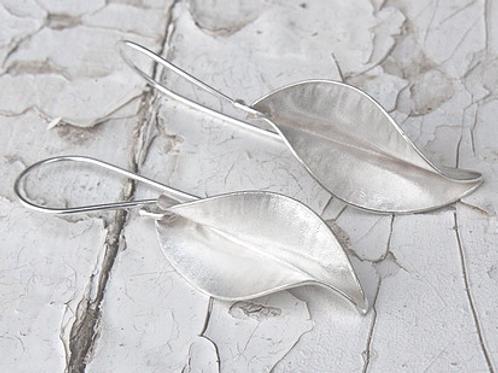 Recycled sterling silver leaf earrings