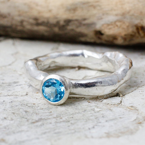 Rustic Ring With Swiss Blue Topaz