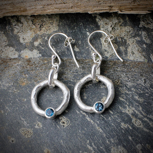 Halo Earrings With Topaz