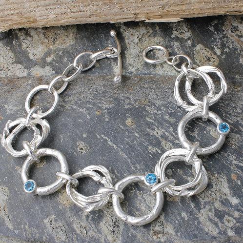 Chain Link Bracelet With Topaz