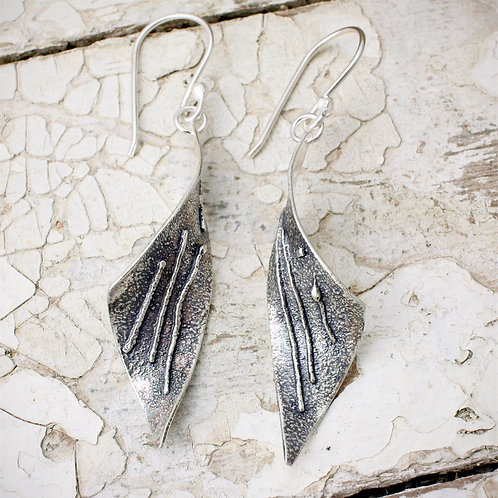 Oxidised Tempest Earrings. Linear Texture