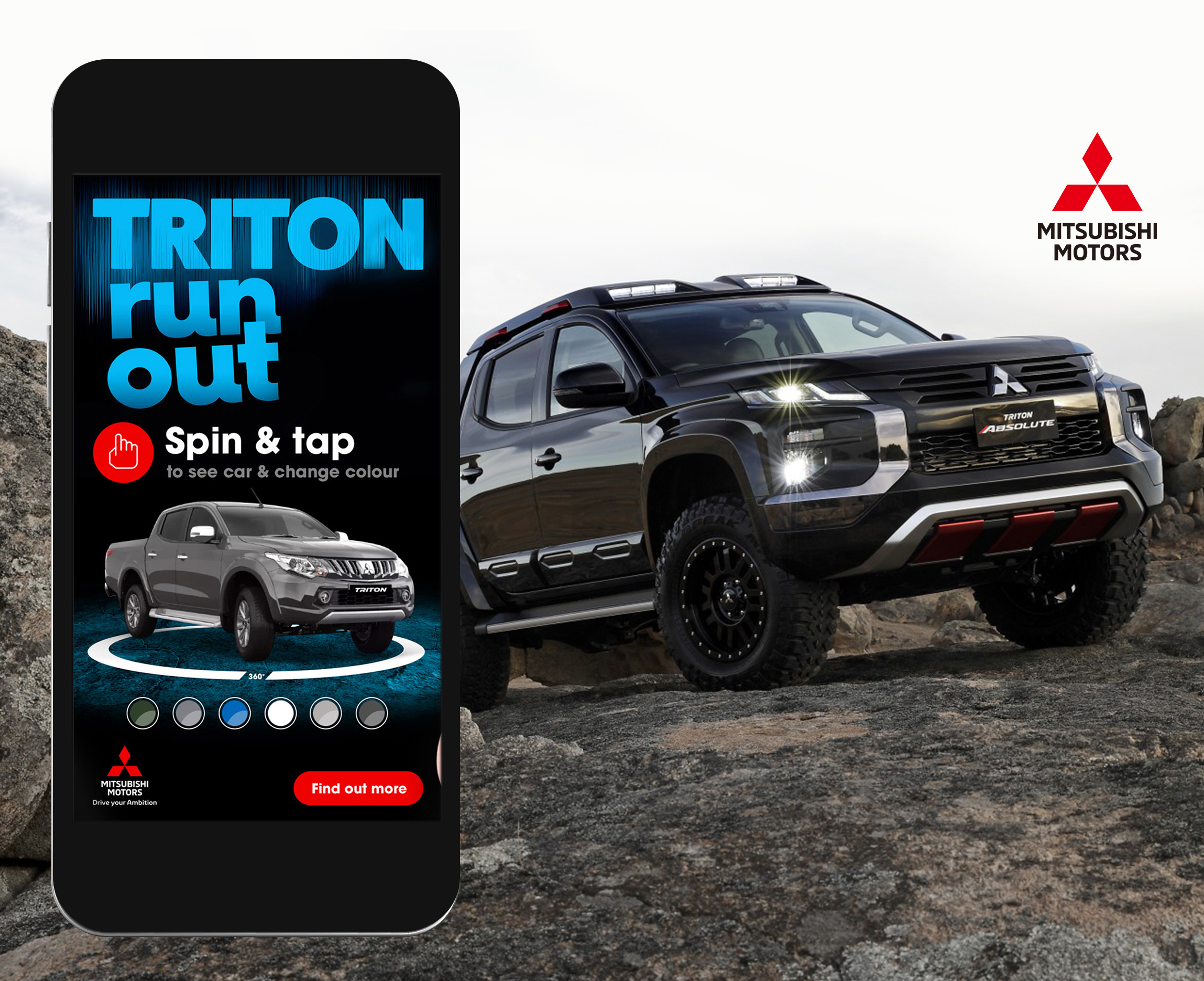 Mitsubishi Triton colour picker mobile ad