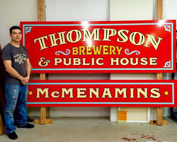 Hand painted signs for Thompson Brewery in Salem, OR USA