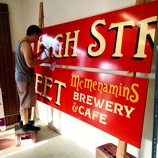Hand painted sign for High St. Brewery in Eugene, OR USA