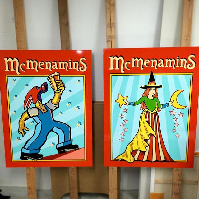 Hand painted signs for McMenamins in Corvallis, OR USA