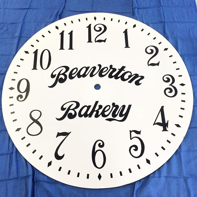 Hand painted vintage milk glass clock face for clock tower