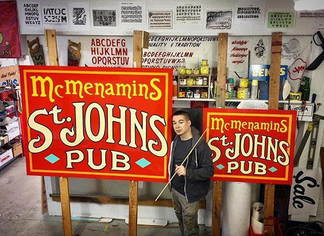 Hand painted signs for St. Johns Pub