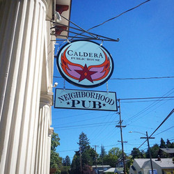 Hand painted signs for Caldera Public House
