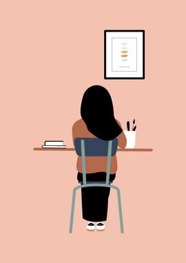La fille au bureau