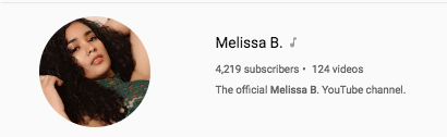 Youtube Verified Melissa B. Youtube Channel