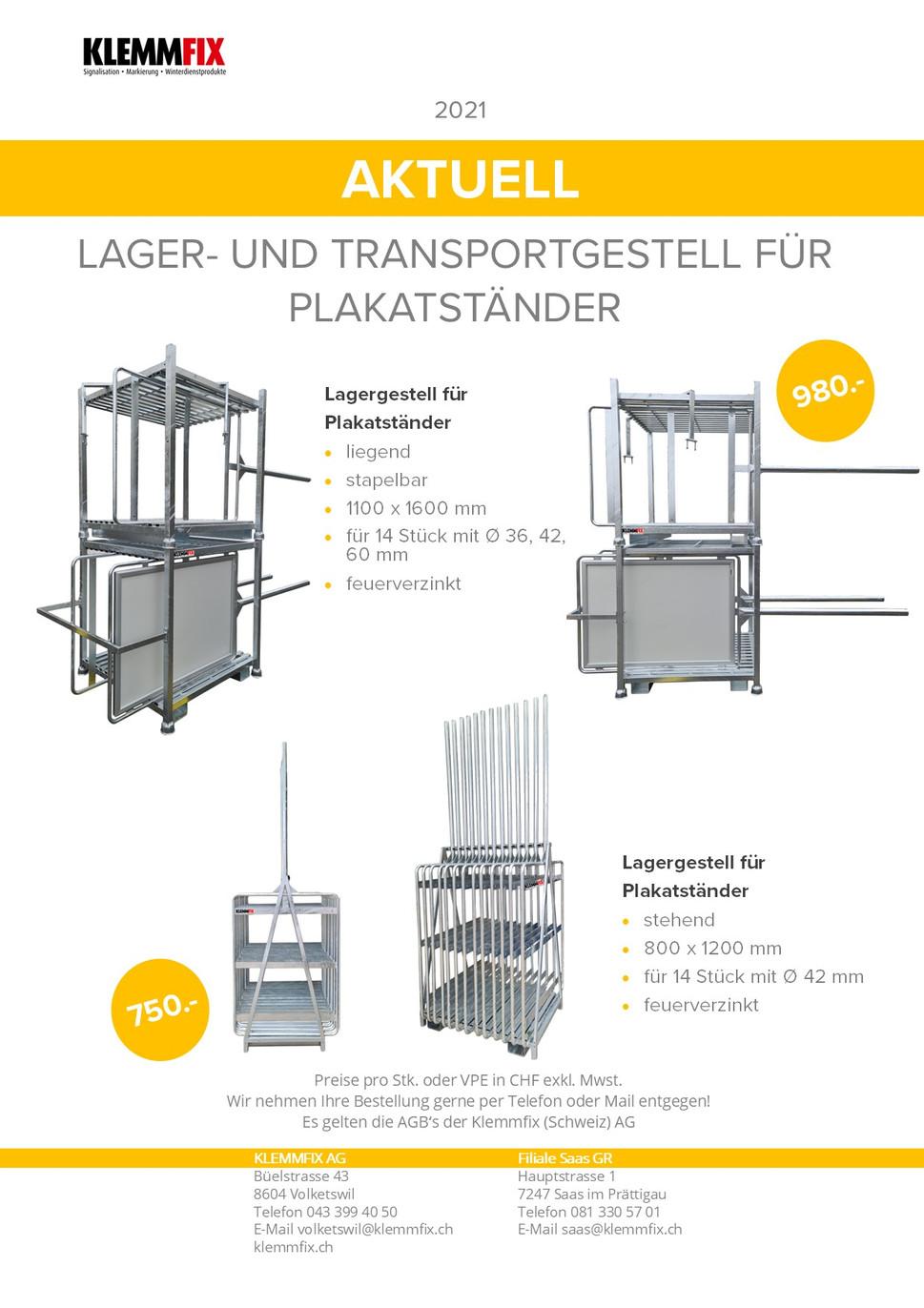 Lager- Transportgestell für Plakatstände