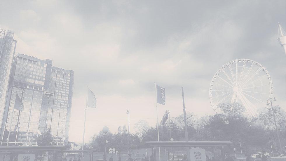 Dov bakgrundsbild på startsidan. Vy från marknivå mot Parisehjulet på Liseberg och Gothia Towers.
