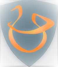 Företagslogga. Sköldformad svart figur med orange snirkligt U med ett streck över.