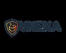 Företagslogga. Sköldformad svart figur med orange snirkligt U med ett streck över. Svart text: Unexa