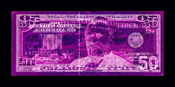 David LaChapelle, Negative Currency: Fifty Dollar Bill Used As Negative, 1990-2017