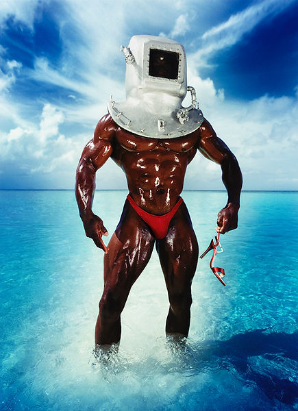 David LaChapelle, Man With Diving Bell and Shoe, 1995