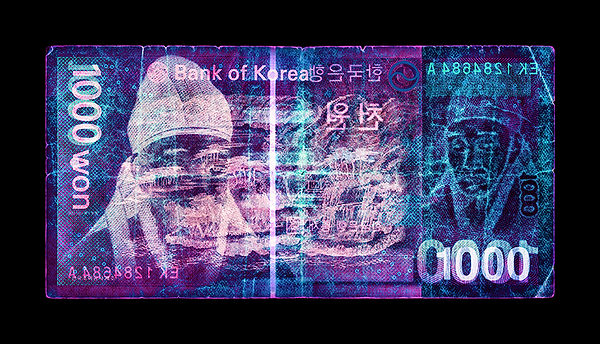 David LaChapelle, Negative Currency: One Thousand South Korean Won Used As Negative, 1990-2017