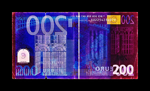 David LaChapelle, Negative Currency: Two Hundred Euro Used As Negative, 1990-2017