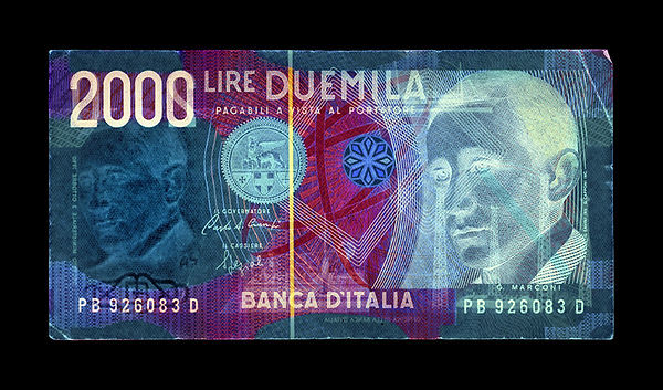 David LaChapelle, Negative Currency: 2000 Lira Used As Negative, 1990-2017