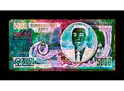 David LaChapelle, Negative Currency: Five ThousandNorth Korean Won Used as Negative, 2016