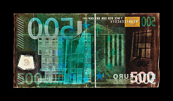 David LaChapelle, Negative Currency: Five Hundred Euro Used As Negative, 1990-2017